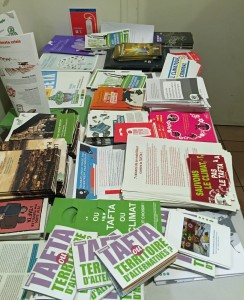 Handouts at trade and climate event