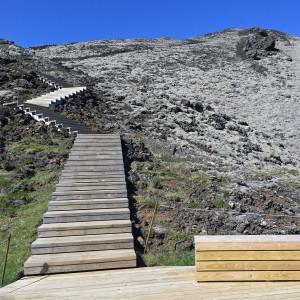 The first set of steps leading up the Grabrok volcano.