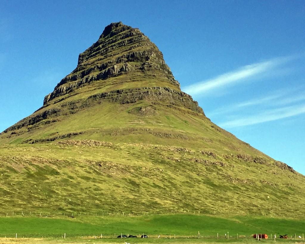 "The imposing Kirkjufell, or ""church mountain."""