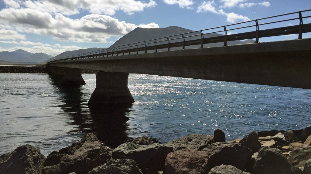 The bridge under which orcas swim at Kolgrafafjord. Alas we didn't see any.