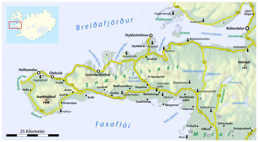 Snæfellsnes map