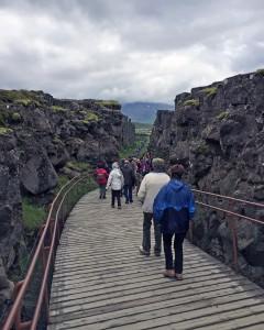 Descending into Almannagjá gorge at Þingvellir National Park.