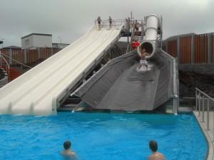 Water slides at Heimaey Island pool. Credit: Visit Vestmannaeyjar