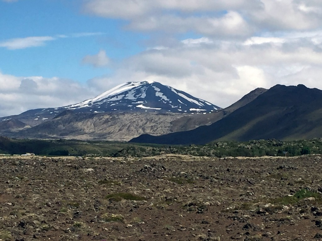 An area of degraded land in front of Mount Hekla.