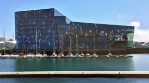 Harpa Concert Hall taken from whale watching boat