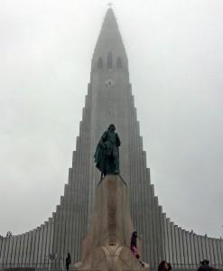 Foggy view of Hallgrímskirkja