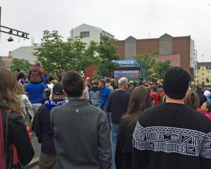 Reykjavik residents watching Iceland play Austria in soccer playoffs.