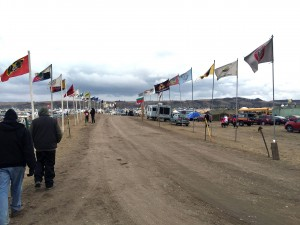 Flag Road leading into Oceti Sakowin camp. The flags of 300 tribal nations line this road.