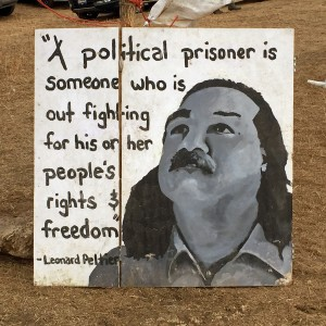 A sign commemorates Native American political prisoner Leonard Peltier
