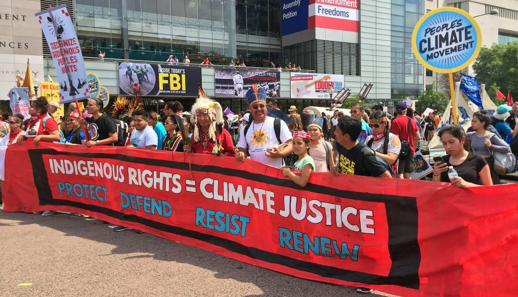 The Indigenous Rights banner at the People's Climate March.