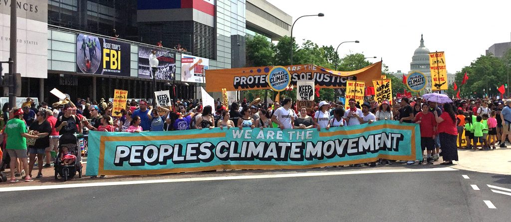 Front banner from the People's Climate March in Washington, DC, on April 29, 2015.
