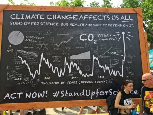 The Climate Change Affects Us All chalkboard made its debut at the People's Climate March in New York City in 2014.
