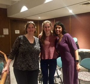 """Me, Kristen Ricker, and Preeti Jaggi gave a presentation of """"The Climate Crisis and Its Solutions"""" on June 17."""
