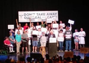 Bernie Sanders leads a rally to save our health care in Columbus on June 25, 2017. That's my friend Puja with her arm raised on the upper left.