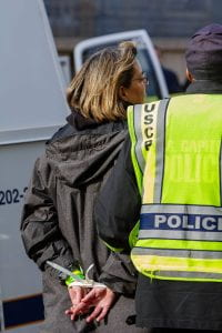 Arrested in support of the Green New Deal on December 10, 2018, in Washington, D.C.