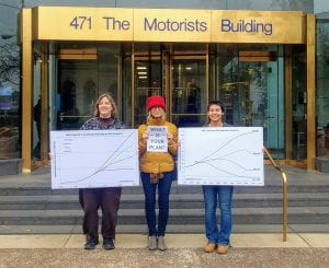 (left to right) Me, Carolyn Harding, and Elizabeth Hixson had to get our photo outside after we could not get in to Rep. Joyce Beatty's office in November. I went back later myself but could not get her to support the Green New Deal.