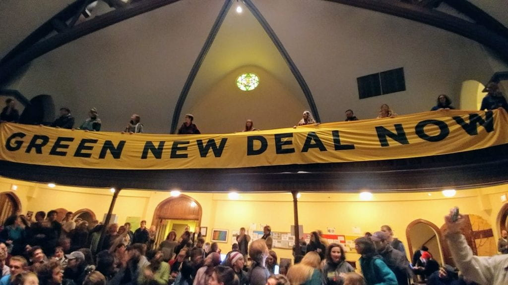 Green New Deal banner at Luther Place Church in Washington, D.C., on December 9, 2018.