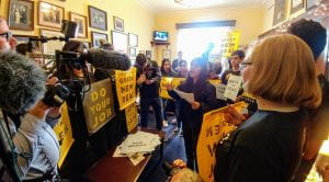 Occupying Rep. Steny Hoyer's (D-Md.) office during the Sunrise action on December 9, 2018, in Washington, D.C.