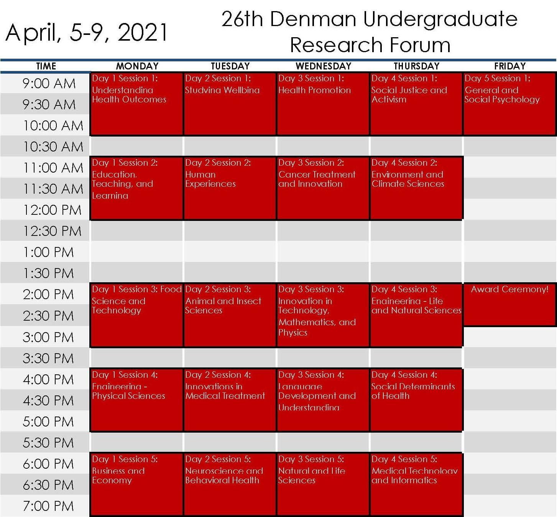Denman Schedule Calendar