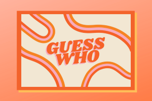 Guess Who design with wavy retro lines in orange and pink