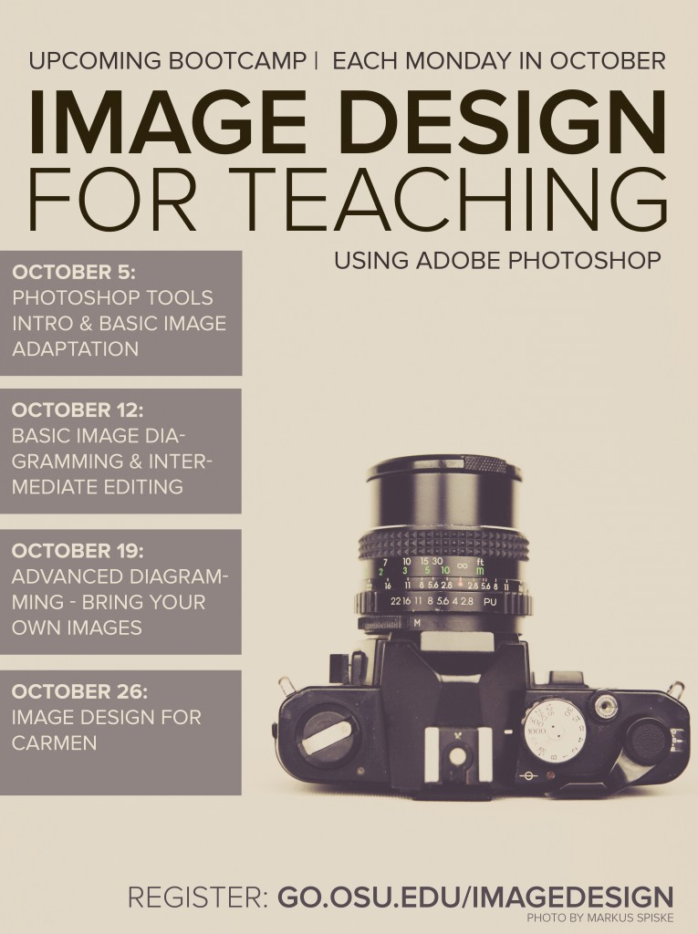 image of digital ad for workshop sessions. shows camera, session days time, and contact info