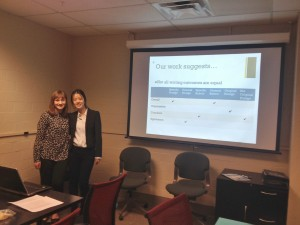 After my research partner, Ruoou, and I presented to the Writing Across the Curriculum group for the first time!