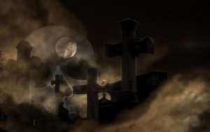 cemetery under the moon