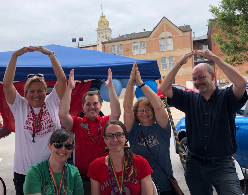 Staff and Faculty showing school spirit during PRIDE festival 2019.