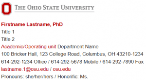sample Ohio State email signature with pronouns listed