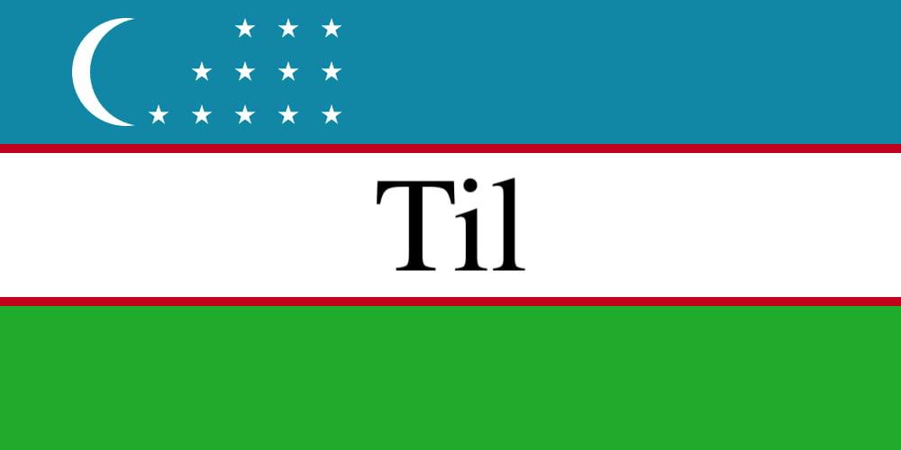 """The Uzbek flag with the word """"til"""" written on it"""