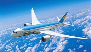 Uzbekistan Air airplane flying