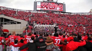 Singing Carmen Ohio after a home game