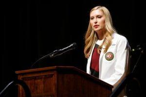 Kristen Zulliger speaking at the 2019 white coat ceremony
