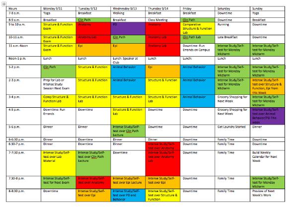 sample planned student calendar