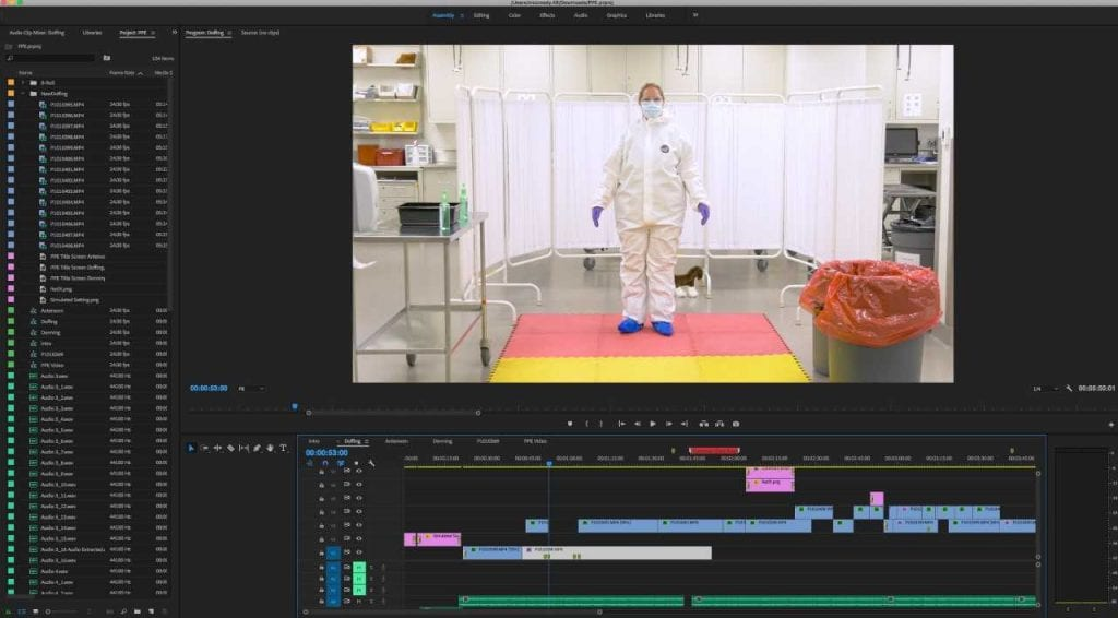 Screenshot of PPE video being edited in Adobe Premiere