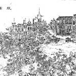 Woodblock print of Shanghai's Zhang Garden