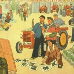 Painting of villagers gathered in a tractor yard