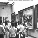 Museum goers looking at large painting