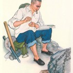 Man in working clothes sitting and striking a match to light his pipe