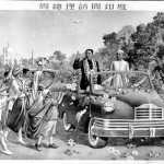Zhou Enlai waving to Indians from a car with Taj Mahal in background