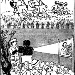 Cartoon depicting man working commune in day and projector at night