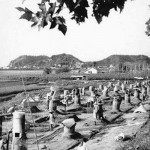 Many outdoor furnaces in rows