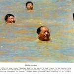 News article image and caption of Mao swimming in the Yangtze River