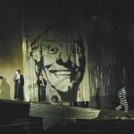 Portrait of Dario Fo over a stage in Beijing
