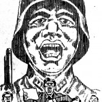 Magazine cover art depicting soldier an man giving speech