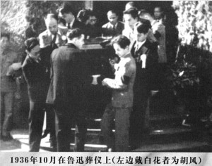 Pallbearers, including Hu Feng (center top), bearing LX's casket.