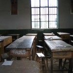 Wooden desks in a classroom