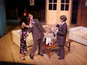"Fig. 1: The all-female production of ""Flushed with Wine"" at Simon's Rock College of Bard. From left, Rebecca Jones as the wife, Chloë Demrovsky as the husband, and Christa Brelsford as the guest."