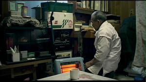 Fig. 6: Swordsmith Kariya Naoji listening to a tape of emperor Hirohito's speeches.