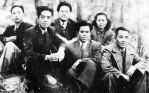 Fig.2: Ah Long (front row, far right) with other members of the Hu Feng group in 1947 in Nanjing.